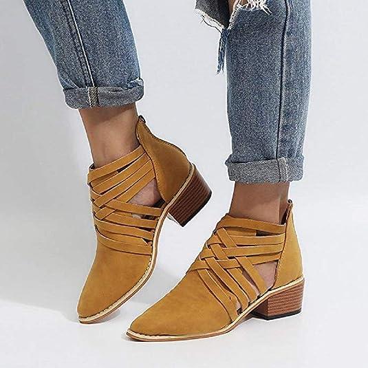 Mujer Botas con Cremallera Chelsea Brogue Vestir Piel Transpirable Botines Zapatos de Tacón Romana Calzado 5cm Negro Amarillo Caqui 35-43: Amazon.es: ...