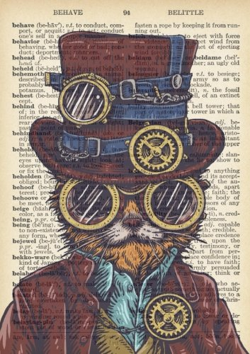 Steampunk Cat Dictionary Art Inspirational Quote Academic Planner (A5): A Monthly/Weekly Organizer for College Students and Teachers (August - July) (2017-2018 Planners with U.S. - Sunglasses Quotes