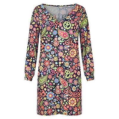 Muranba Womens Dresses Plus Size Off Shoulder Floral Print Long Sleeve Irregular Casual Dress