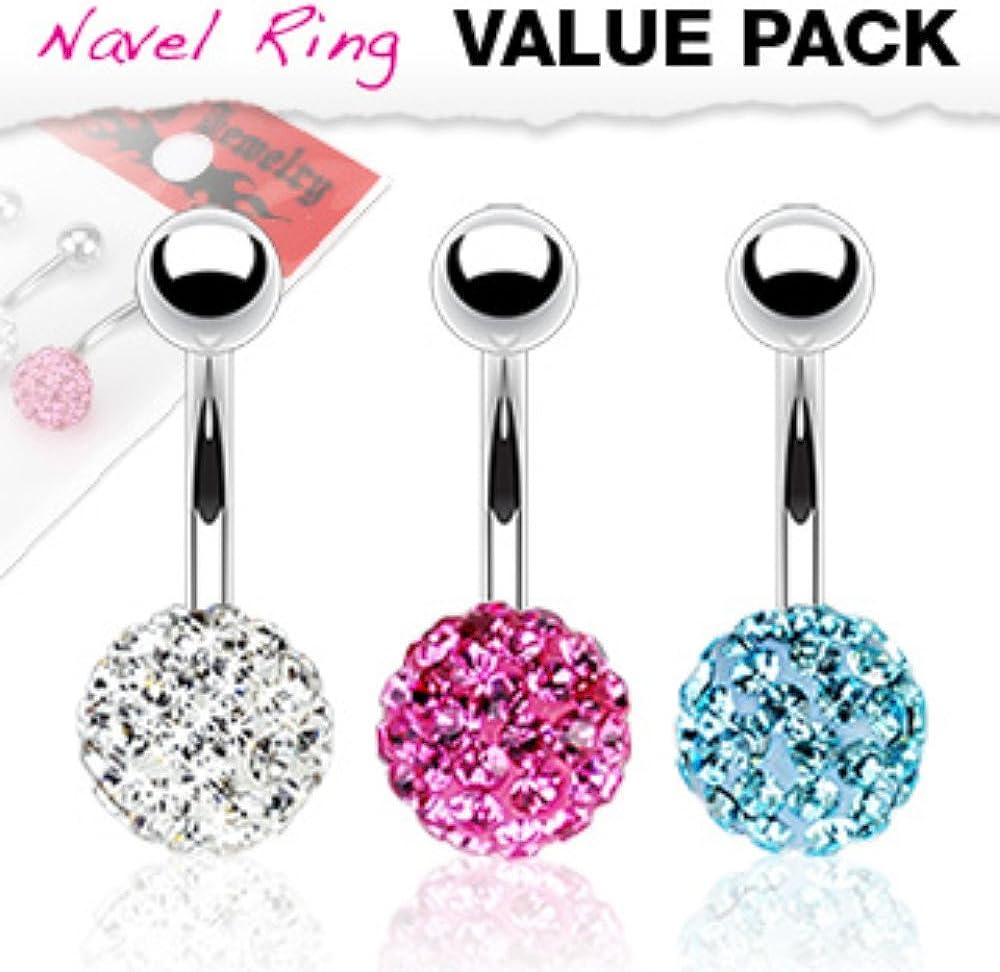 3 Pcs Value Pack of Assorted Color Multi Gem Ferido WildKlass Navel Ring