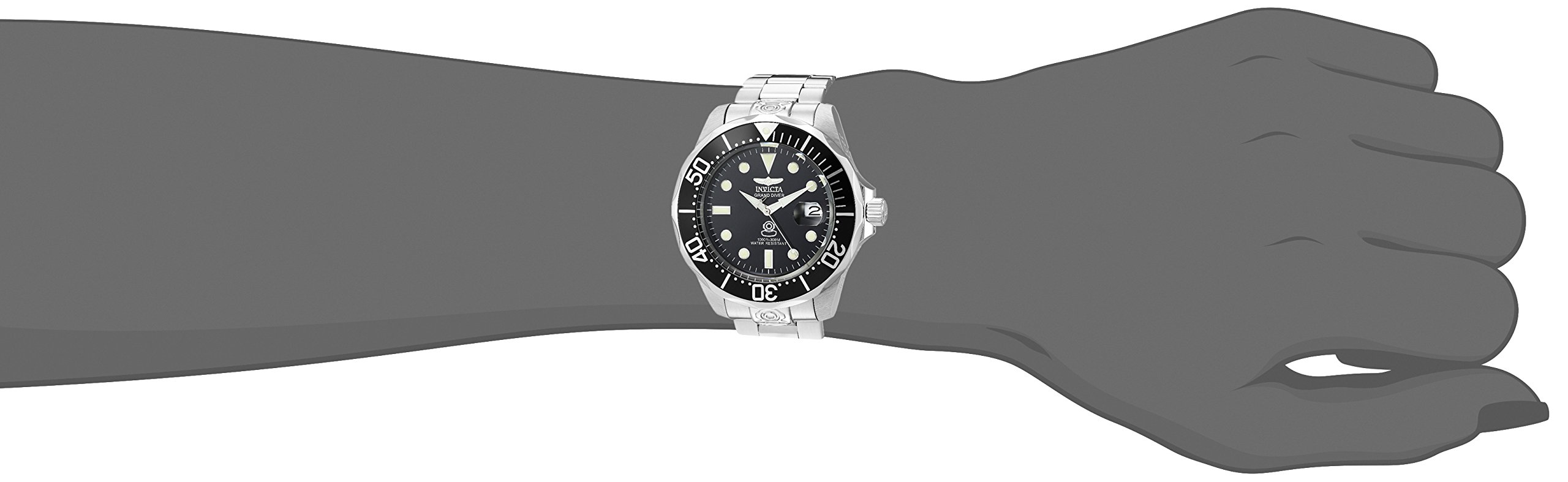 Invicta Men's 3044 Stainless Steel Grand Diver Automatic Watch, Silver/Black by Invicta (Image #5)
