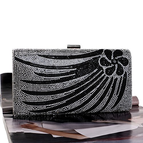 Dames Diamond Black Bag De Banquet Pochette Evening WenL pour IBwOXxq