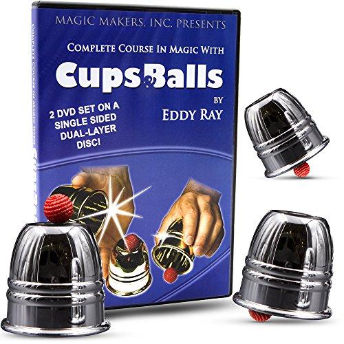 Magic Cups And Balls - Magic Makers Complete Course with Cups and Ball Aluminum Cups and Balls Included