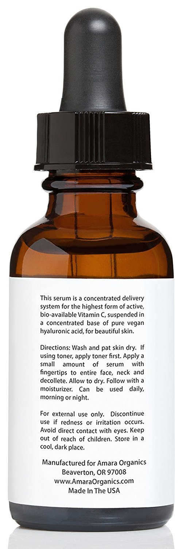 Amazon.com: Amara Organics suero vitamina C para la cara 20% con ácido hialurónico y Vitamina E, 1 fl. oz. 2 botellas: Beauty