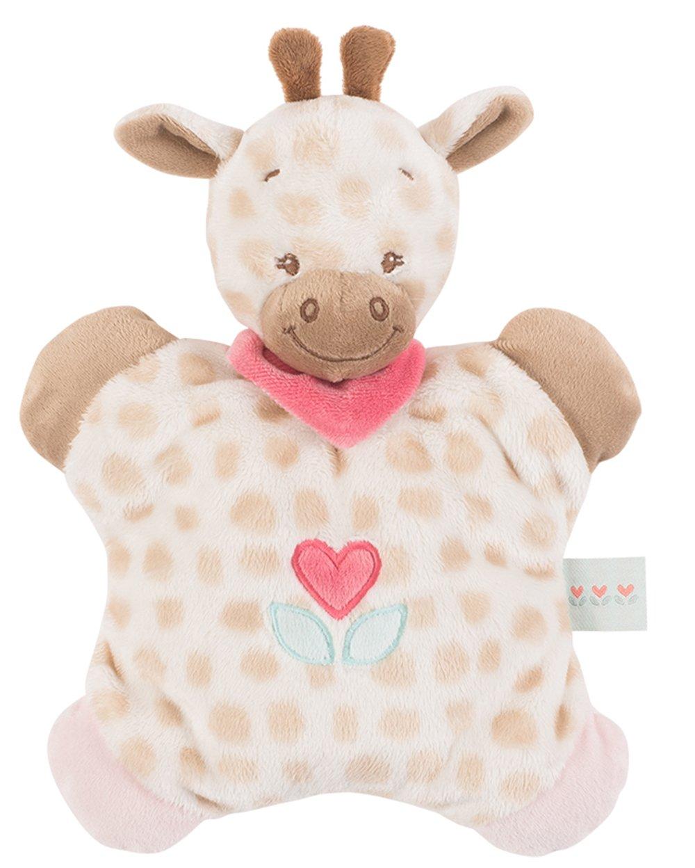 Nattou - Doudou plano con sonajero jirafa charlotte blanco/beige: Amazon.es: Bebé