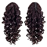 SWACC 12-Inch Short Screw Curls Claw Clip Ponytail Extensions Synthetic Clip in Drawstring Curly Ponytail Hairpiece Jaw Clip Hair Extension (Dark Brown-4#)