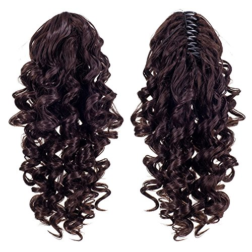 SWACC 12-Inch Short Screw Curls Claw Clip Ponytail Extensions Synthetic Clip in Drawstring Curly Ponytail Hairpiece Jaw Clip Hair Extension (Dark Brown-4#) -
