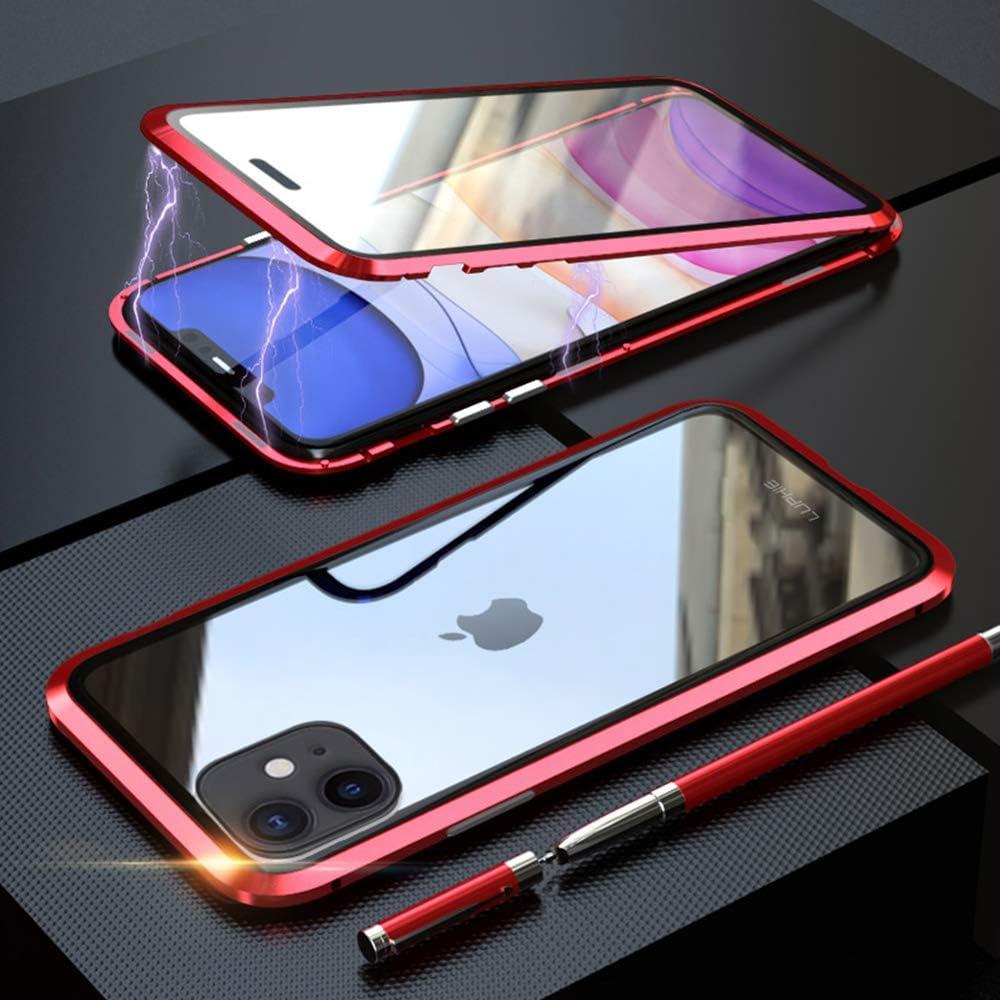 Funda para iPhone 11 Adsorcion Magnetica Carcasa 360 Grados Protección Case Estuche Doble Untre Delgada Vidrio Templado Marco Aluminio Anti Choque Metal Flip Cover: Amazon.es: Electrónica