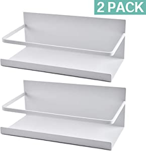 Roysili Spice Rack Magnetic Spice Rack Durable Magnetic Shelves For Refrigerator Easy To Use 2 Pack (White)