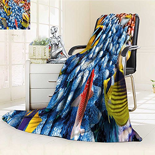 YOYI-HOME Digital Printing Duplex Printed Blanket Modern Aquatic Caribbean Underwater Sea with Tropical Fishes and Coral Reef Depth Print Multi Summer Quilt Comforter /W59 x H39.5