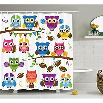 Ambesonne Owls Shower Curtain, Sporty Owls Cheerleader League Team Coach  Football Themed Animals Cartoon Art Style, Fabric Bathroom Decor Set With  Hooks, ...