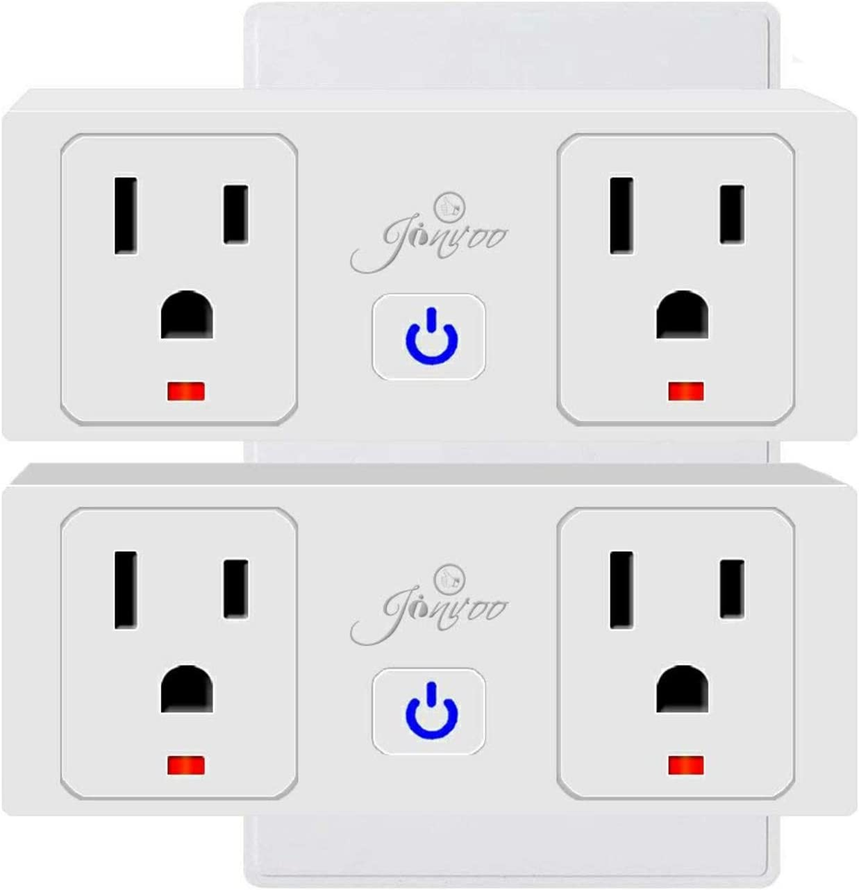 Jinvoo Wifi Smart Plug, Wireless Smart Outlet - Remote Control Wi-Fi Plug Works with Amazon Alexa Echo Google Home, 2 pack, No Hub Required Smart Socket