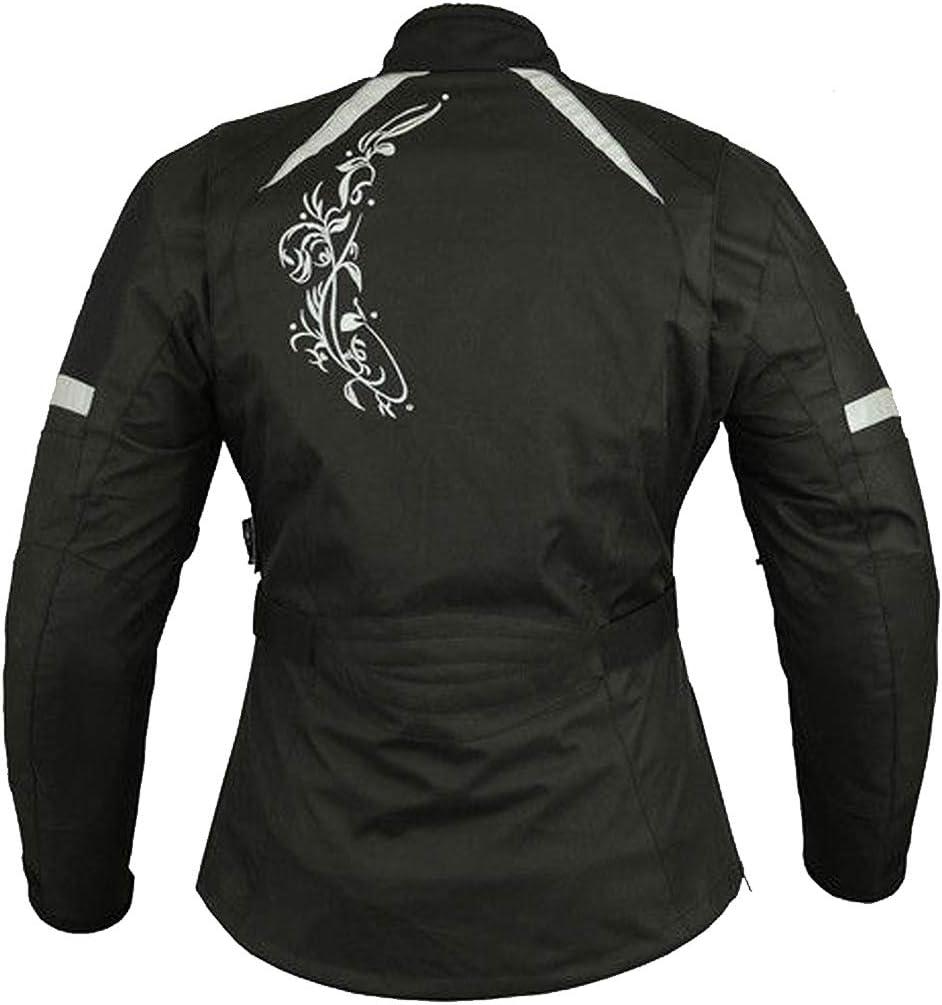 Chaqueta de moto para mujer Chaqueta impermeable cordura de tela blindada para motocicleta XS Negro con flor rosa