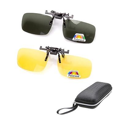 2 pares de gafas de sol Clip On Flip Up gafas de visión nocturna antideslumbrante polarizadas para hombres mujeres UV400 mejor para conducir Golf ...
