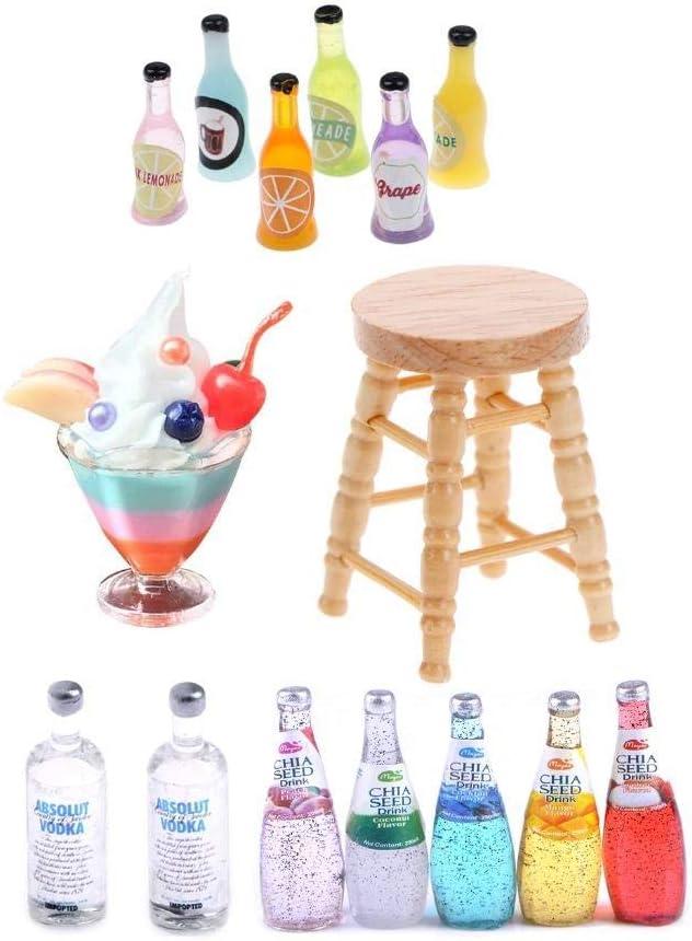 15 Pcs 1:12 Fruit Icecream Jelly Cup Drink Juice Tea Beverage Bottle Jam Jar Toys,Dollhouse Simulation Drink Wine Glass Model,Dolls House Wooden Stool Chair Miniature Food Kitchen Accessory Bar Decor