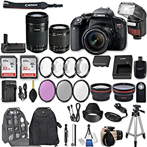 Canon EOS Rebel T7i DSLR Camera with EF-S 18-55mm f/4-5.6 IS STM Lens + EF-S 55-250mm f/4-5.6 IS STM Lens + 2Pcs 32GB Sandisk SD Memory + Automatic Flash + Battery Grip + Filter & Macro Kits + More