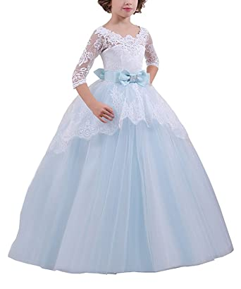 QYC Elegant Flower Girl Dress Light Blue Girls 3/4 Sleeves Communion Dresses 1-