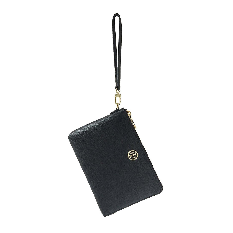 Tory Burch Landon Black Pebbled Leather Large L-Zip Wristlet Clutch