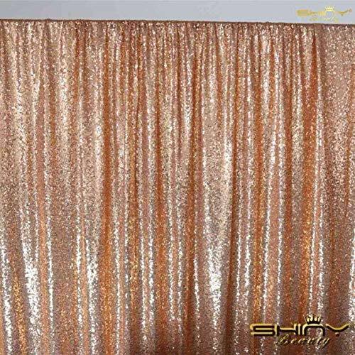 ShinyBeauty 20FTx10FT-Rose Gold-Sequin Backdrop, for Party or Wedding Sequin Photo Booth Backdrop,Wedding Backdrop, Photo Backdrop,Glitz Backdrop,Sequin Curtain Backdrop (Rose 10' Rectangular)