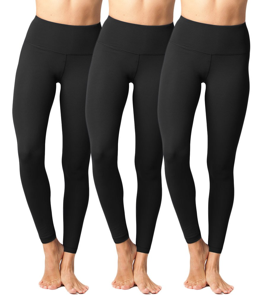 Yogalicious High Waist Ultra Soft Lightweight Leggings -  High Rise Yoga Pants - Black 3 Pack - XS by Yogalicious