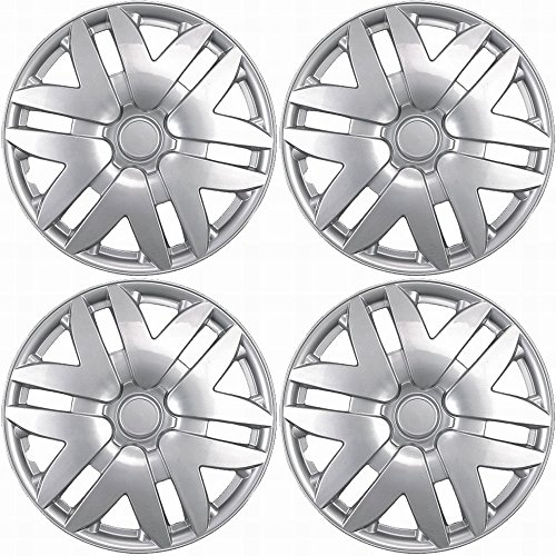 "Hubcaps for Toyota Sienna 2004-2010 Set of 4 Pack 16"" Inch Silver , OEM Genuine Factory Replacement - Easy Snap On - Aftermarket Wheel Covers"