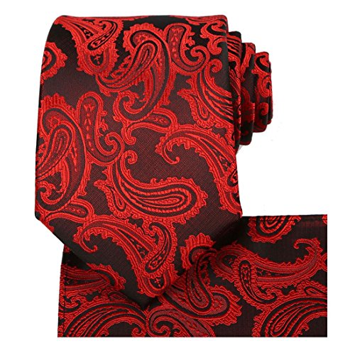 (KissTies Mens Tie Set: Paisley Necktie + Pocket Square + Gift Box, Red)