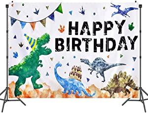 Dinosaur Theme Birthday Party Backdrop,5x3ft Watercolor Cartoon Happy Birthday Party Banner Decorations for Boys Birthday ,Photography Background Party Supplies Large Wall Banner Room Decor