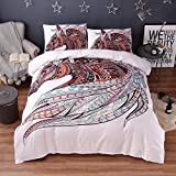 Boho Horse Bedding Sets Twin - MeMoreCool Reactive Printing 100% Polyester US Size Duvet Cover and P