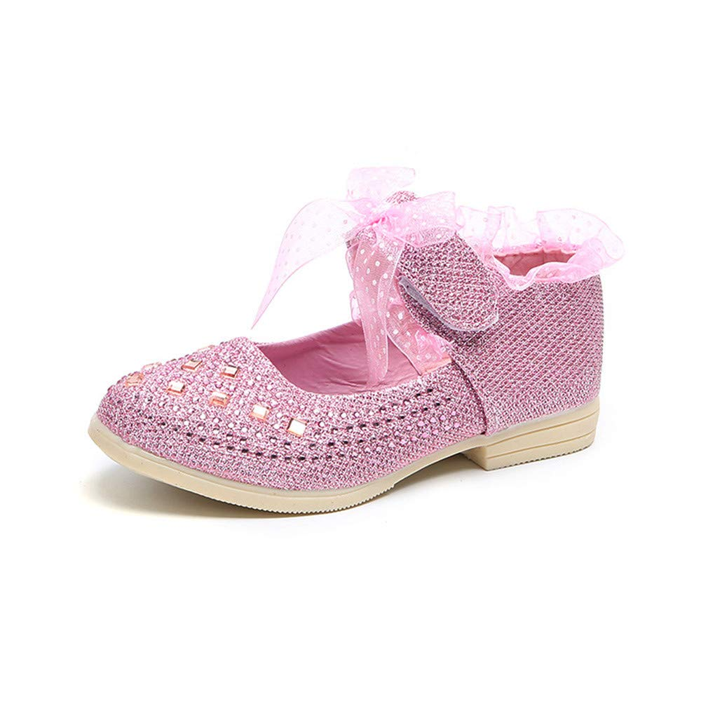 Kasien Baby Shoes, Toddler Baby Girls Sneaker Dot Sole Kids Children Princess Lace Sequins Shoes (Pink, 3.5-4 Years)