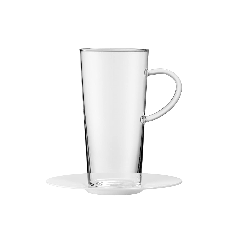 de 2/unit/és Verre 0,1/x 0,1/x 14/cm Blanc Bohemia Cristal 093/012/115/Play of Colors Set de 2/Tasses /à Latte Macchiato en Verre Borosilicate avec sous Assiette en Plastique Verre