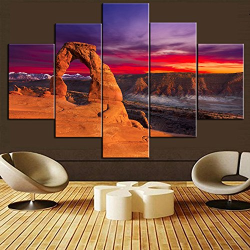 5 Piece Canvas Wall Art Dedicated Arch Under Sunset in Arches National Park,Utah Paintings Pictures USA Landmark Paintings Modern Artwork Home Decor for Living Room Framed Ready to Hang(60''Wx40''H) ()