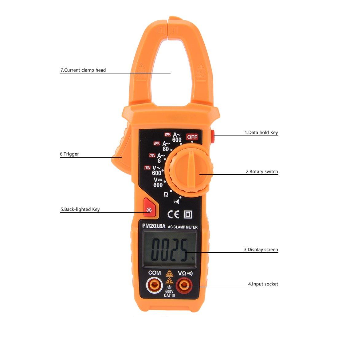 PEAKMETER Authorized PM2018A Manual Digital Multimeter Ammeter ...