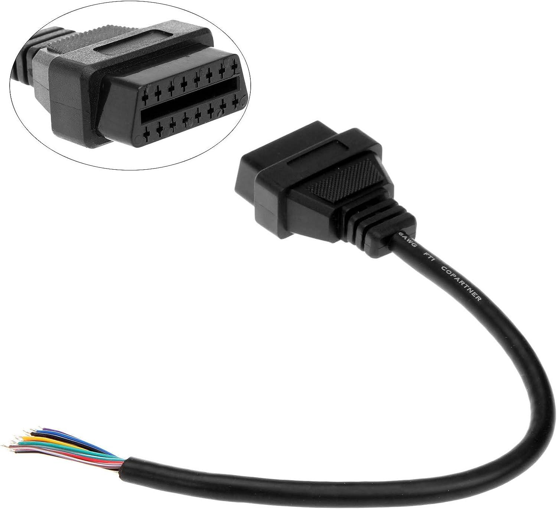 OBD2 OBD-II 16 Pin Female Extension Connector to Open Plug Wire Diagnostic Cable 16 Pin J1962 OBD2 OBD-II Female Connector 30cm//1ft Aupoko