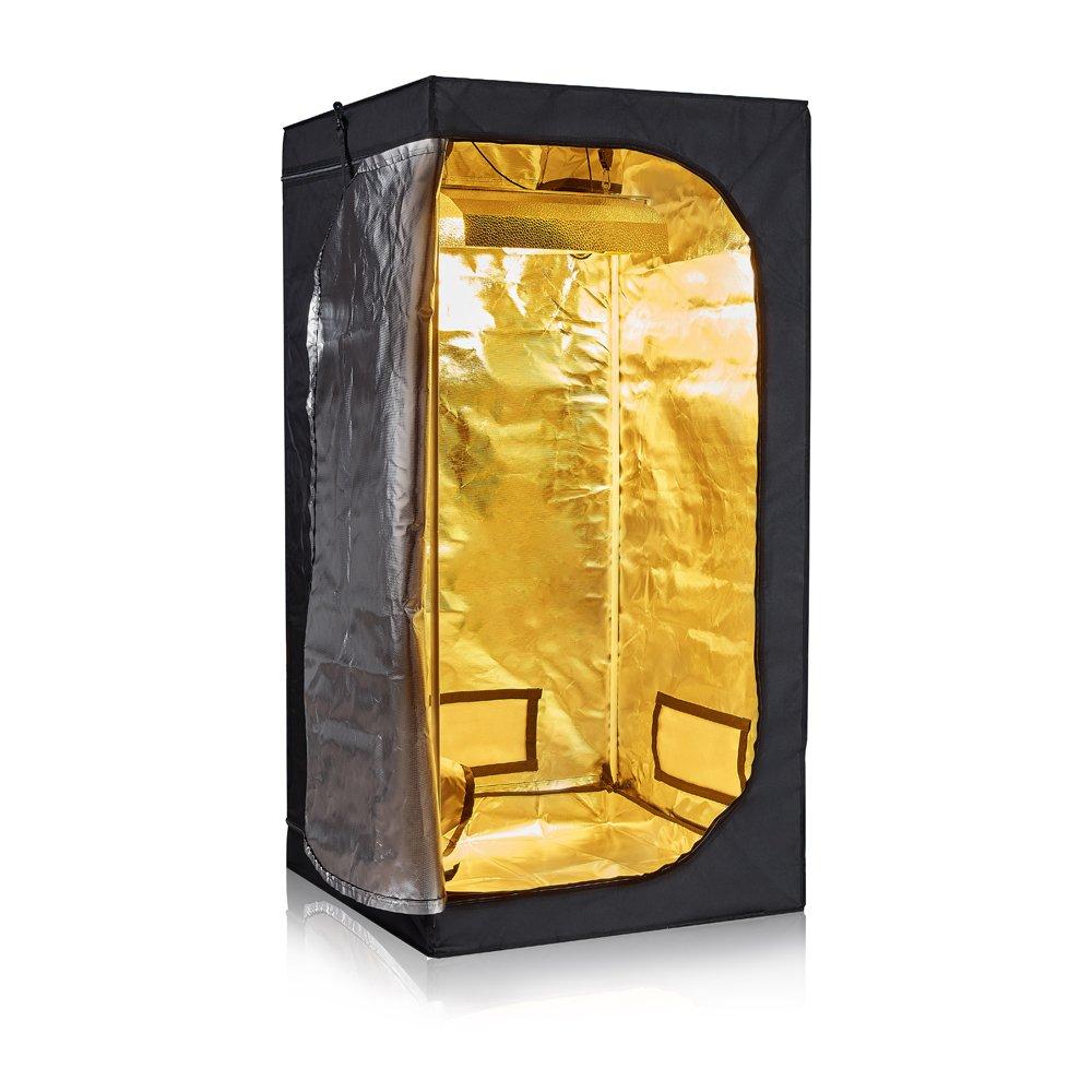 TopoGrow D-Door 32''X32''X63'' Indoor Grow Tent Room 600D Mylar High Reflective non Toxic Hut