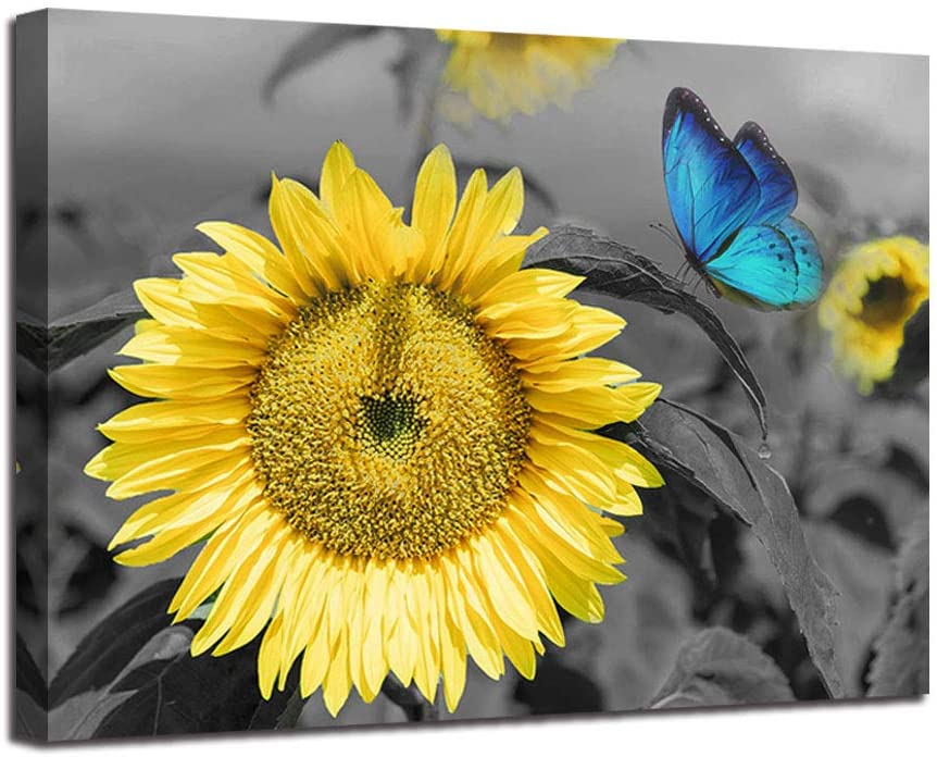 "Canvas Wall Art Sunflower Blue Butterfly Yellow Flowers Pictures Black and White Painting Prints Framed Artwork for Bedroom Kitchen Dinning Room Living Room Office Home Decor- 12""X16"", One Panel, Gallery Wrapped"