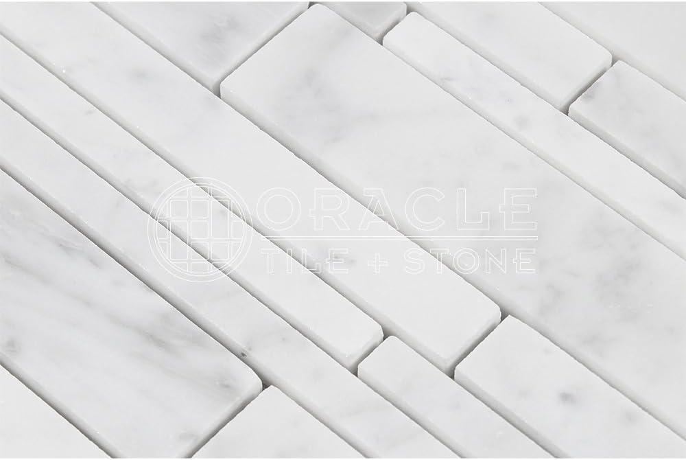 Carrara White Italian Bianco Carrara Honed Marble Random Strip