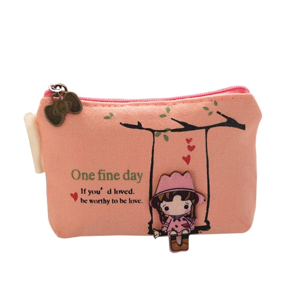 BIGBOBA - Mini portamonete da donna, di tela, piccolo e carino portaoggetti per chiavi, auricolari, rossetti, carte, 11,5 x 8 x 2,8 cm, Tela, Blue, 11.5*2.8*8cm