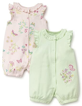 fb5deb0e7026 Amazon.com  Little Me Baby Girls 2 Pack Romper  Clothing