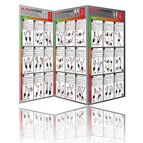 Variosling® Poster avec 54 exercices pour un entraînement fonctionnel avec les sangles de suspension / Sling-Trainer | instruction de la musculation bipartite, grande