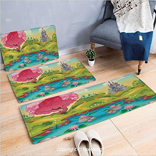 3 Piece Anti-Skid mat for Bathroom Rug Dining Room Home Bedroom,Kids,Fantasy Landscape Countryside Castle Pink Tree Colorful Cartoon Playroom Nursery Decor,Multicolor,16x24/18x53/20x59 inch