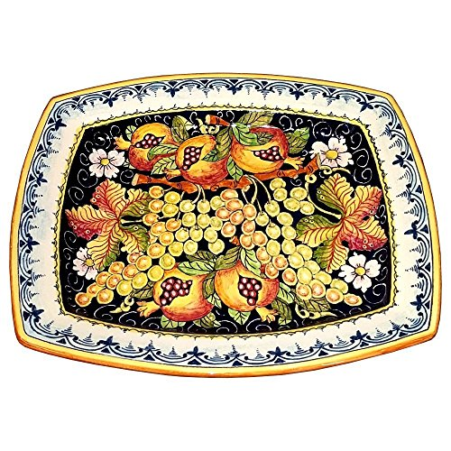 CERAMICHE D'ARTE PARRINI - Italian Ceramic Art Serving Tray Plate Pottery Hand Painted Decorated Fruit Grape Made in ITALY Tuscan