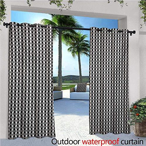 door Single Panel Print Window Curtain Herringbone Zigzags Stacked Cubes Pattern Greyscale Illustration Silver Grommet Top Drape W96 x L96 Black Grey and Pale Grey ()