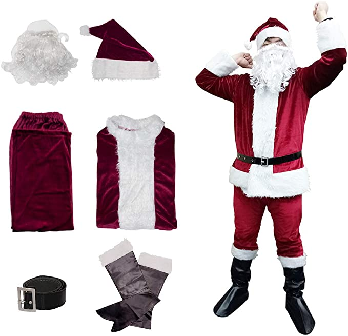 Adult Santa Claus Crawl Costume Father Christmas Mens Xmas Fancy Dress Outfit