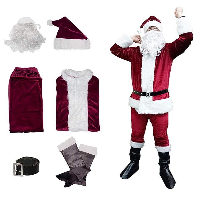 Amazon.com: Disfraz de Papá Noel de Navidad, para adulto, de ...