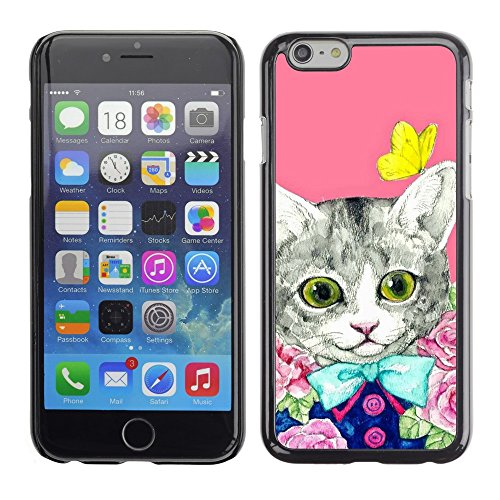 Soft Silicone Rubber Case Hard Cover Protective Accessory Compatible with Apple iPhone? 6 (4.7 Inch) - kit cat kitten pink butterfly
