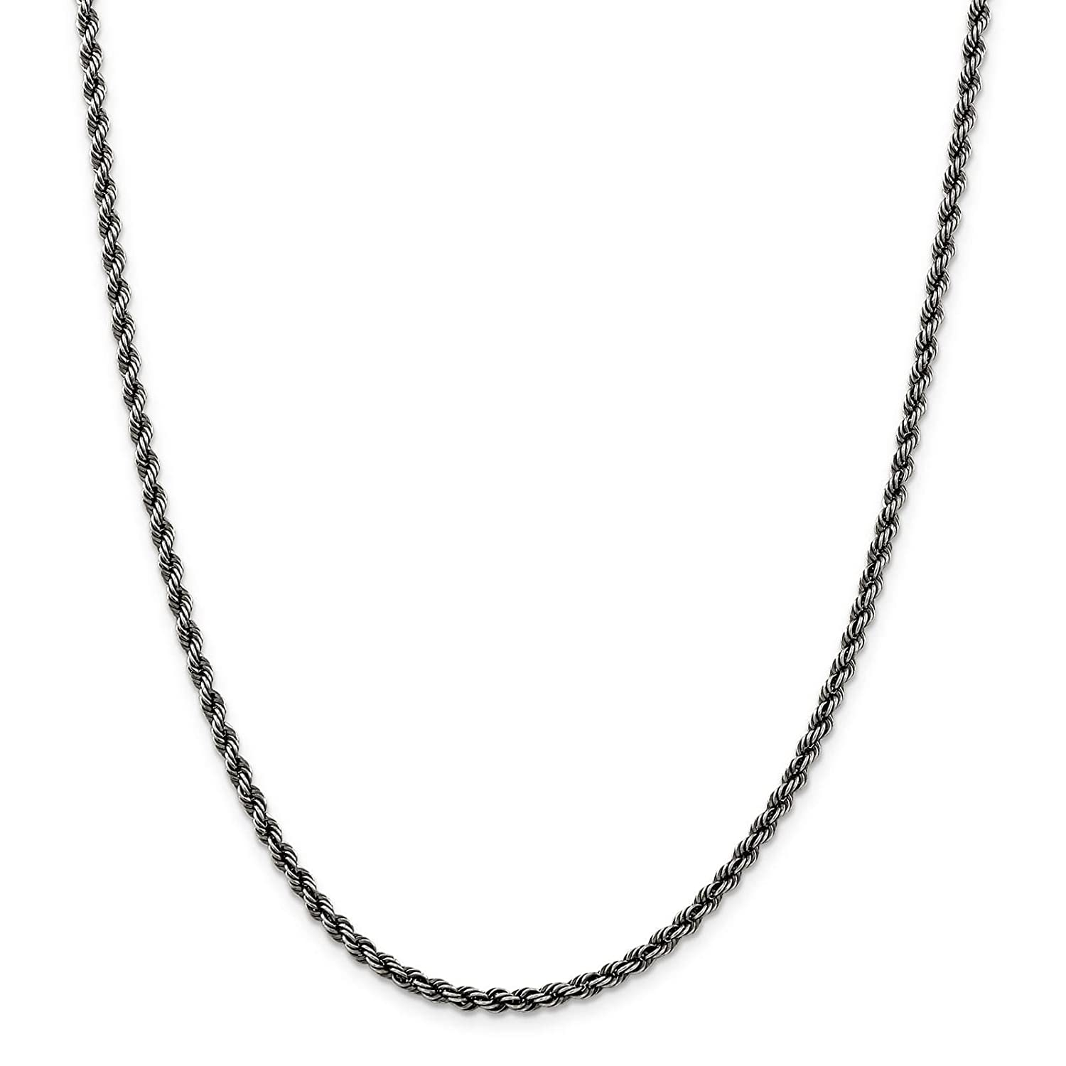 925 Sterling Silver Ruthenium-plated 3mm Rope Chain Necklace 7-24