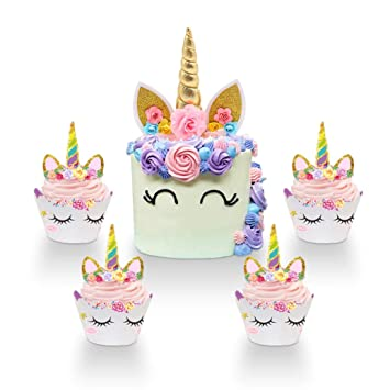 Unicorn Cake Topper Handmade Horn Ears And Flowers Set Birthday Decor 12 Wrappers