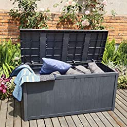 Deck Boxes OVASTLKUY Outdoor Storage Box 120 Gallon for Patio Furniture Cushions and Gardening Tools Deck Box Organization and… outdoor deck boxes