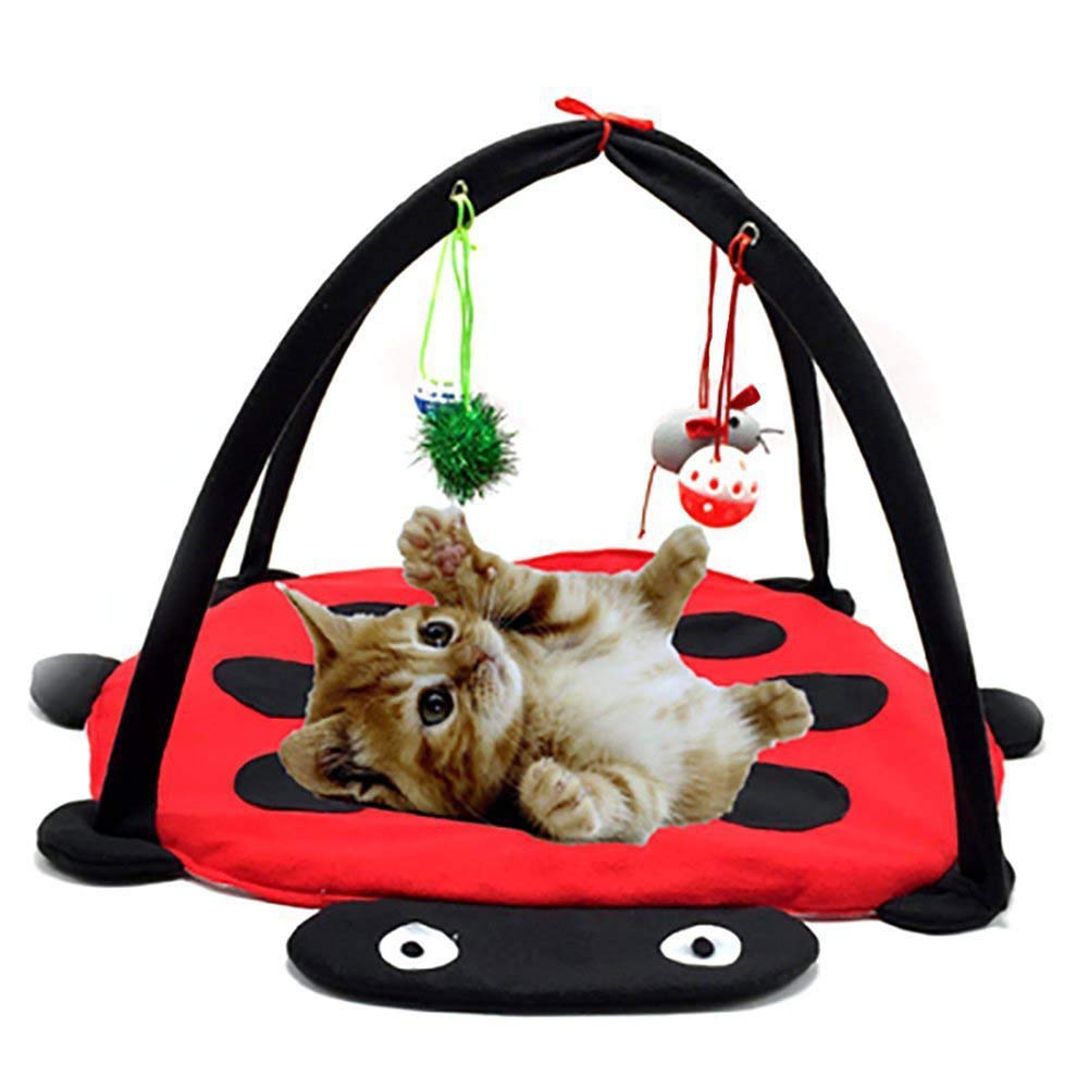 616134cm Multi-Function Pet Kitten Cat Interactive Activity Soft Fleece Folding Toy Mat Bed Hammock Tent with Hanging Toys Bells Balls and Mice
