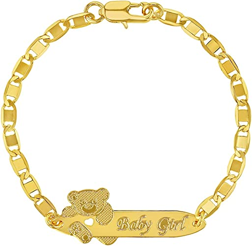 14k Gold Plated Brass Baby Bear ID Rolo Link Chain Girls 6 Adjustable Tag Bracelet
